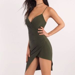Tobi Dresses - Tobi Olive Green Asymmetric Wrap Dress